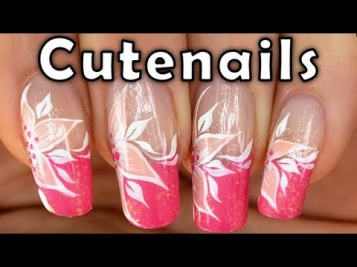 Candy pink French manicure with white flower by cute nails